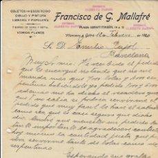 Cartas comerciales: CARTA COMERCIAL DE PAPELERÍA FRANCISCO DE G. MALLAFRÉ EN VILANOVA I LA GELTRÚ AÑO1920. Lote 60512835