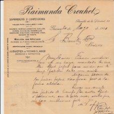 Cartas comerciales: CARTA COMERCIAL DE SOMBRERERÍA RAIMUNDA CREUHET EN GIRONA AÑO 1920. Lote 60594415