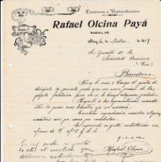 Cartas comerciales: CARTA COMERCIAL DE COMISIONES RAFAEL OLCINA PAYA EN ALCOY AÑO 1919. Lote 60594607