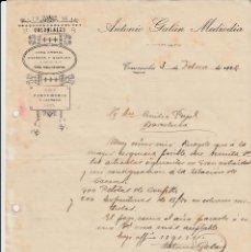Cartas comerciales: CARTA COMERCIAL DE COLONIALES ANTONIO GALÁN MEDIODIA EN TORREMOCHA - CÁCERES- AÑO 1922. Lote 60658183