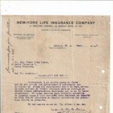 Cartas comerciales: LA NEW YORK COMPAÑÍA DE SEGUROS SOBRE LA VIDA - SEVILLA JEREZ DE LA FRONTERA 1915. Lote 61003459