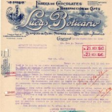 Cartas comerciales: FÁBRICA DE CHOCOLATES Y CAFÉS LUCAS BOTICARIO. LA ARABIA. CAÑAVERAL. CÁCERES.. Lote 61381887