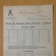 Cartas comerciales: NOTA DE PRECIOS CAMISERIA CORBATERIA FABREGAS BARCELONA 1917. Lote 61499459