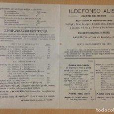 Cartas comerciales: ILDEFONSO ALIER EDITOR DE MÚSICA INSTRUMENTOS MUSICALES. Lote 61499839