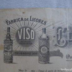 Cartas comerciales: VISO LICORES. Lote 61825296