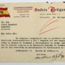 Cartas comerciales: CARTA ANDRES ARTIGAS ZARAGOZA SOLICITA AUTORIZACION CONSTRUCCION VAGONES,VIVA FRANCO,ARRIBA ESPAÑA. Lote 62629196