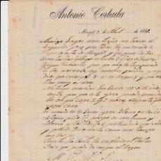 Cartas comerciales: CARTA COMERCIAL DE ANTONIO CORTADA EN MONTGAT AÑO 1892. Lote 63979215