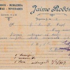 Cartas comerciales: CARTA COMERCIAL DE TEJIDOS MERCERÍA DE JAIME RODÓN EN ARGENTONA --1917--. Lote 63979311