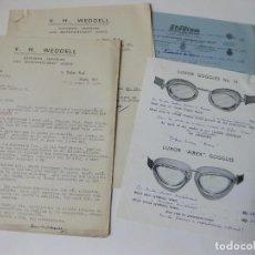 Lettere commerciali: CARTA DE WEDDELL A PAYMA SL CON LOS TIPOS DE GAFAS DE AVIACION DEL CATALOGO DE LUXOR GOOGLES. Lote 64543407