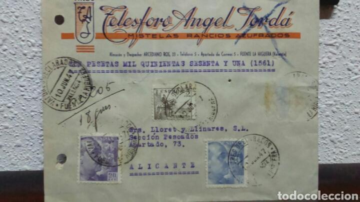 CORREOS. TELESFORO ANGEL JORDÁ. VINOS .FUENTE LA HIGUERA VALORES DECLARADOS. (Coleccionismo - Documentos - Cartas Comerciales)