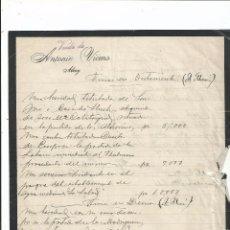 Cartas comerciales: VIUDA DE ANTONIO VICENS - ALCOY ALICANTE (C. 1930). Lote 66418454