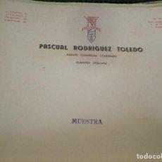 Cartas comerciales: ALMANSA (ALBACETE). CABECERA DE CARTA COMERCIAL PASCUAL RODRIGUEZ TOLEDO. AGENTE COMERCIAL COLEGIADO. Lote 67036118