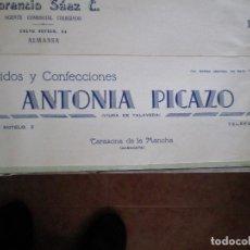 Cartas comerciales: TARAZONA DE LA MANCHA (ALBACETE). CABECERA DE CARTA COMERCIAL ANTONIA PICAZO TEJIDOS Y CONFECCIONES. Lote 67038914