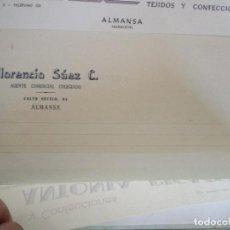 Cartas comerciales: ALMANSA (ALBACETE). CABECERA DE CARTA COMERCIAL FLORENCIO SAEZ. AGENTE COMERCIAL COLEGIADO. Lote 67039158