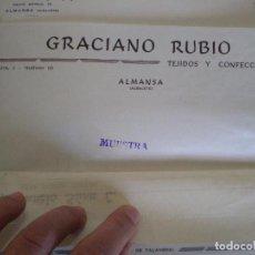 Cartas comerciales: ALMANSA (ALBACETE). CABECERA DE CARTA COMERCIAL GRACIANO RUBIO TEJIDOS Y CONFECCIONES. Lote 67039406