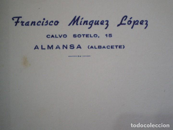 Cartas comerciales: ALMANSA (ALBACETE). CABECERA DE CARTA COMERCIAL FRANCISCO MINGUEZ LOPEZ - Foto 2 - 67039670