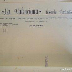 Cartas comerciales: ALMANSA (ALBACETE). CABECERA DE CARTA COMERCIAL LA VALENCIANA RICARDO FERRANDIZ CALZADOS. Lote 67040726