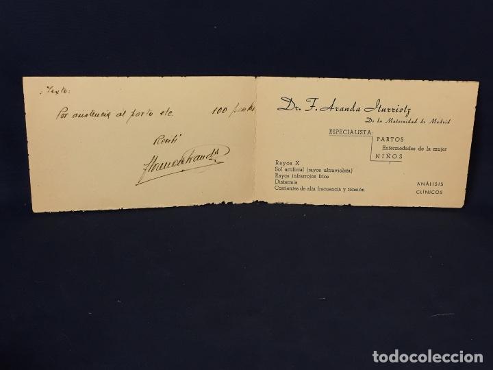 TARJETA MEDICO NIÑOS MATERNIDAD MADRID PARTOS ENFERMEDADES MUJER LOGROÑO ANALISIS ARANDA ITURROITZ (Coleccionismo - Documentos - Cartas Comerciales)