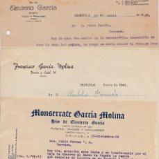 Cartas comerciales: LOTE DE 6 CARTAS COMERCIALES DE ORIHUELA -ALICANTE- 1943-1946(2)-1948-1953-1956. Lote 68535329