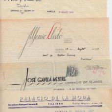 Cartas comerciales: LOTE DE 5 CARTAS COMERCIALES DE GANDÍA -ALICANTE- 1947(3)-1949(2). Lote 68535625