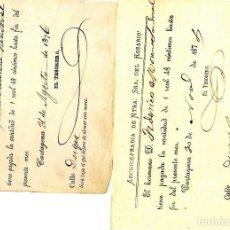 Cartas comerciales: CARTAGENA SEMANA SANTA CONJUNTO 2 DOCUMENTOS COFRADÍA NTA SEÑORA ROSARIO 1874-6. Lote 69611693
