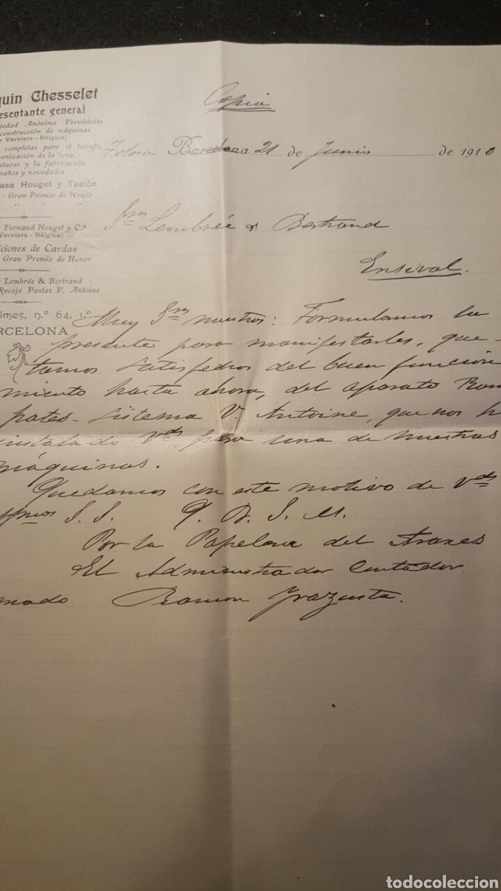 CARTA COMERCIAL, 1910, BARCELONA, JOAQUIN CHESSELET, SOCIEDAD CONSTRUCCION DE MAQUINAS, HOUGET Y TES (Coleccionismo - Documentos - Cartas Comerciales)