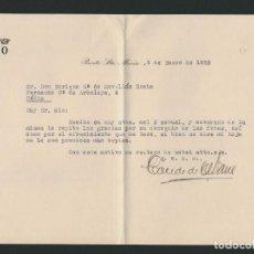Cartas comerciales: CARTA DE FELICITACIÓN NAVIDEÑA DEL CONDE DE OSBORNE.PUERTO DE SANTA MARIA.AÑO 1952.. Lote 70174577
