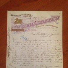 Cartas comerciales: ANTIGUA FACTURA CARTA COMERCIAL PIMENTON CONSERVAS VEGETALES GUILLAMON 1900 MURCIA. Lote 71547147