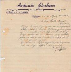 Cartas comerciales: CARTA COMERCIAL DE ANTONIO PACHECO EN ALMANSA -ALBACETE- 1947. Lote 71661063