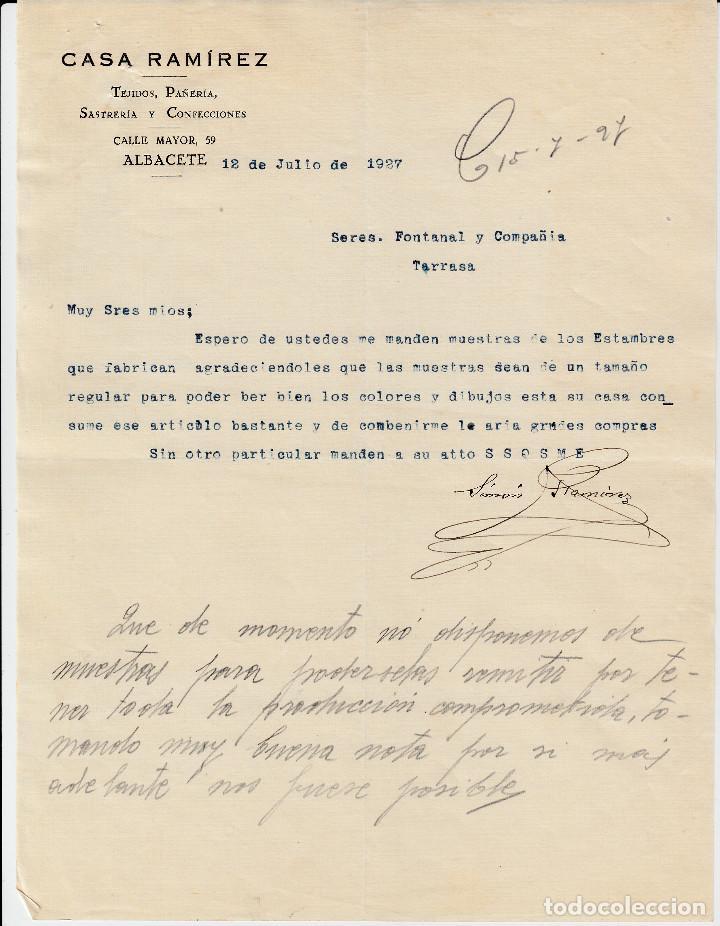 CARTA COMERCIAL DE TEJIDOS CASA RAMIREZ EN ALBACETE 1927 (Coleccionismo - Documentos - Cartas Comerciales)