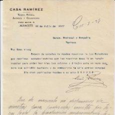 Cartas comerciales: CARTA COMERCIAL DE TEJIDOS CASA RAMIREZ EN ALBACETE 1927. Lote 71661175