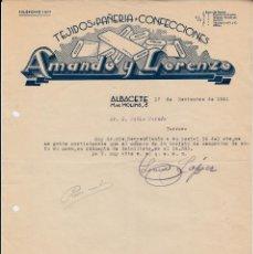 Cartas comerciales: CARTA COMERCIAL DE TEJIDOS AMANDO Y LORENZO EN ALBACETE -1941-. Lote 71661899