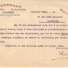 Cartas comerciales: CARTA COMERCIAL DE JUGUETERIA L.SERRANO EN CIUDAD REAL - 1939-. Lote 71662007