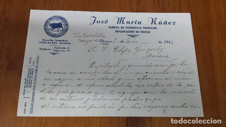 ANTIGUA CARTA COMERCIAL CONSERVAS VEGETALES FRUTAS BLANCA MURCIA (Coleccionismo - Documentos - Cartas Comerciales)
