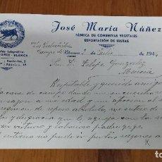 Cartas comerciales: ANTIGUA CARTA COMERCIAL CONSERVAS VEGETALES FRUTAS BLANCA MURCIA. Lote 71732551