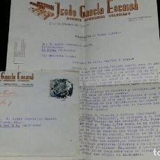 Cartas comerciales: CORRESPONDENCIA CON PUBLICIDAD ALMENDRAS AVELLANA JGE. JESUS GARCLA ESCRIBA. VALENCIA. Lote 72058115
