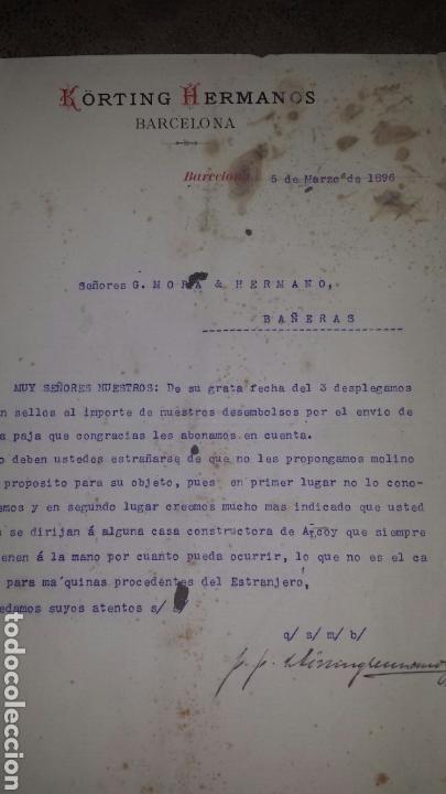 CARTA COMERCIAL 1896 KORTING HERMANOS , BARCELONA (Coleccionismo - Documentos - Cartas Comerciales)