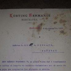 Cartas comerciales: CARTA COMERCIAL 1896 KORTING HERMANOS , BARCELONA. Lote 72261195