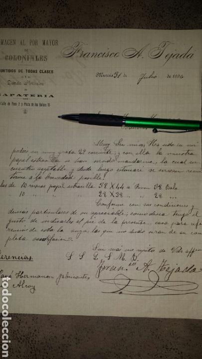 CARTA COMERCIAL MANUSCRITA 1896- FRANCISCO A. TEJADA, MURCIA- ALMACEN COLONIALES (Coleccionismo - Documentos - Cartas Comerciales)