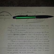 Cartas comerciales: CARTA COMERCIAL BARCELONA 1894- REPRESENTACIONES, COMISIONES, VENTAS LLORENS Y GATELL. Lote 72312838
