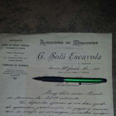 Cartas comerciales: CARTA COMERCIAL NANUSCRITA BARCELONA 1896- ALMACEN MAQUINARIA G.SOLÁ ESCAYOLA- INGENIERO. Lote 72313873