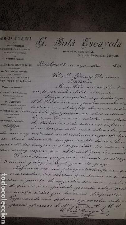 CARTA COMERCIAL MANUSCRITA 1896- BARCELONA - G.SOLÁ ESCAYOLA- INGENIERO INDUSTRIAL INSTALACION MOLI (Coleccionismo - Documentos - Cartas Comerciales)