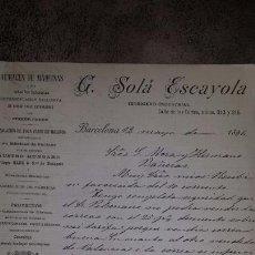 Cartas comerciales: CARTA COMERCIAL MANUSCRITA 1896- BARCELONA - G.SOLÁ ESCAYOLA- INGENIERO INDUSTRIAL INSTALACION MOLI. Lote 72319769