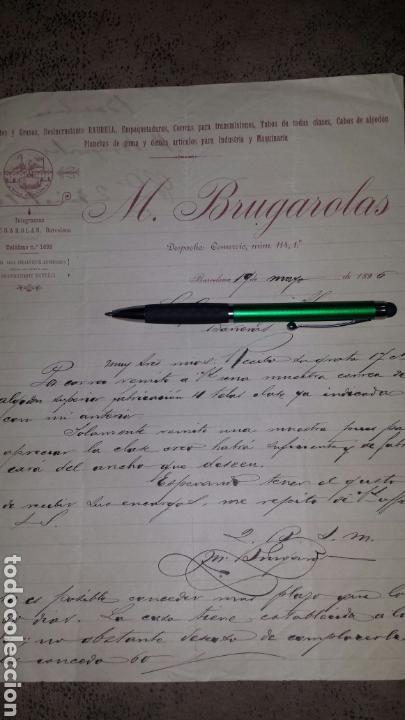 CARTA COMERCIAL MANUSCRITA M. BRUGAROLAS- BARCELONA 1896- ACEITES, GRASAS, RAURELL (Coleccionismo - Documentos - Cartas Comerciales)