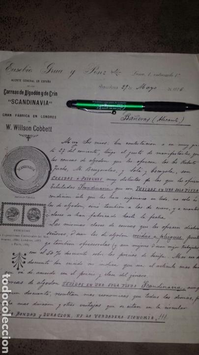 CARTA COMERCIAL EUSEBIO GRUA Y PONZ- BARCELONA 1896- CORREAS SCANDINAVIA FÀBRICA EN LONDRES (Coleccionismo - Documentos - Cartas Comerciales)