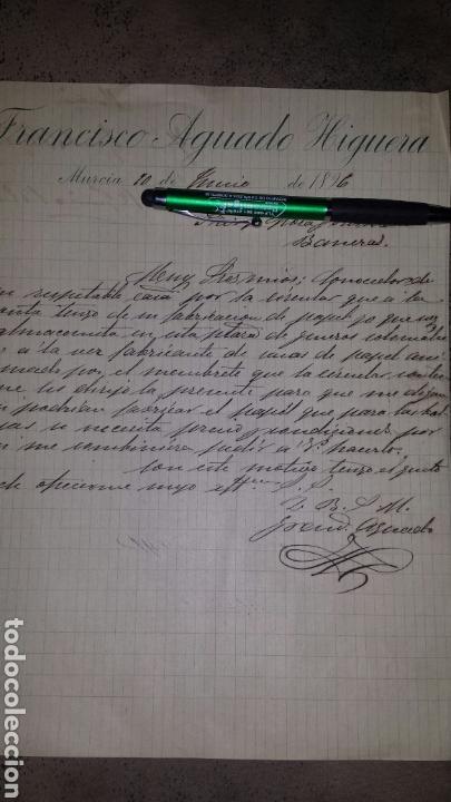 CARTA COMERCIAL MANUSCRITA 1896- FRANCISCO AGUADO HIGUERA (Coleccionismo - Documentos - Cartas Comerciales)