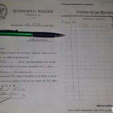 Cartas comerciales: CARTA Y FACTURA ROBERTO FUCHS, BARCELONA 1896- GOMA INDUSTRIAL, AMIANTO EN POLVO, , CABLES ELÉCTR. Lote 72334806