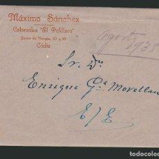 Cartas comerciales: SOBRE + FACTURA.EL PALILLERO, GRAN ALMACÉN DE COLONIALES DE MÁXIMO SÁNCHEZ.CÁDIZ.1935. Lote 74627355