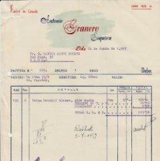 Cartas comerciales: CARTA COMERCIAL DE CALZADOS ANTONIO GRANERO ESQUIVA EN ELDA -ALICANTE- 1957. Lote 75093455