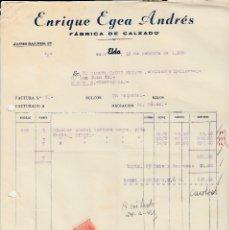 Cartas comerciales: CARTA COMERCIAL DE CALZADOS ENRIQUE EGEA ANDRÉS EN ELDA -ALICANTE- 1955. Lote 75093807